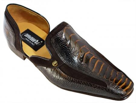 SKU#N5RG Mauri Bicolor Dark Brown/Gold/Suede Genuine Ostrich Leg Loafer Shoes $769
