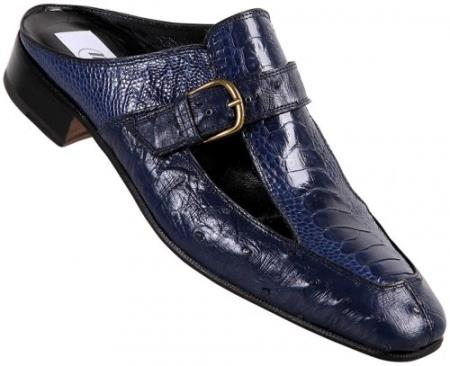 SKU#H5GA Mauri Iris Blue Genuine Ostrich / Ostrich Leg Half Shoes $769