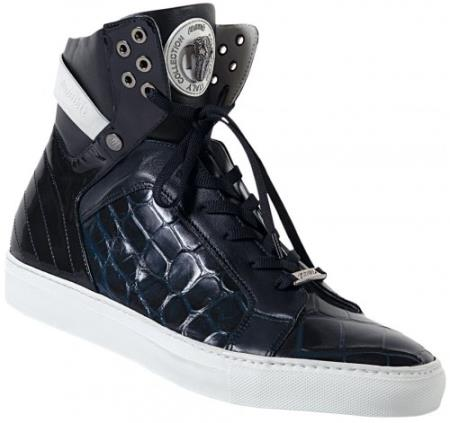 MensUSA Mauri Wonder Blue Genuine Body Alligator Nappa Calf Casual High Top Sneakers at Sears.com