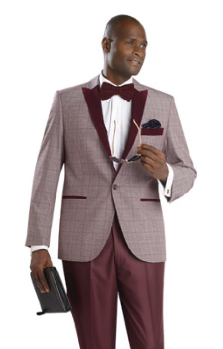 SKU#7TK Mens One Button Fashion Suit Burgundy ~ Maroon ~ Wine Color $175