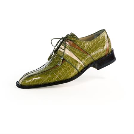 SKU#B6RE Mauri Olive / Brown / Cream All Over Genuine Alligator Shoes $1269