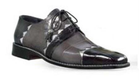 SKU#EH785 Mauri Genuine Black / Grey Silver Alligator Shoes $1269