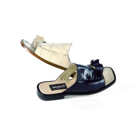 SKU#EQ629 Mauri Alligator Tail Sandals Colors Available: Bone, Black, Blue $819