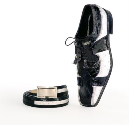 SKU#GT744 Mauri Black and White Genuine Alligator / Ostrich Shoes $1169