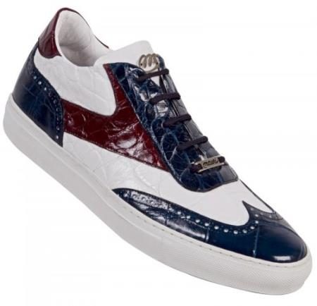 SKU#JT658 Mauri White / Ruby Red / Wonder Blue Genuine All-Over Alligator Casual Sneakers $919