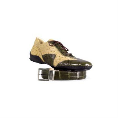 SKU#EN733 Mauri Money Green / Taupe Genuine Ostrich / Alligator Sneakers $869