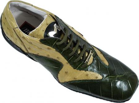 SKU#BL674 Mauri Olive / Taupe Genuine Alligator / Ostrich Sneakers $869