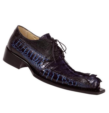 "SKU#E56 Mauri ""Barometer"" WonderBlue Genuine Hornback Crocodile Tail/Bicolore WonderBlue/Iris $1019"