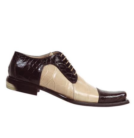 "SKU#JN749 Mauri ""Believer"" Dark Brown/Champagne Genuine All-Over Alligator Shoes $1229"