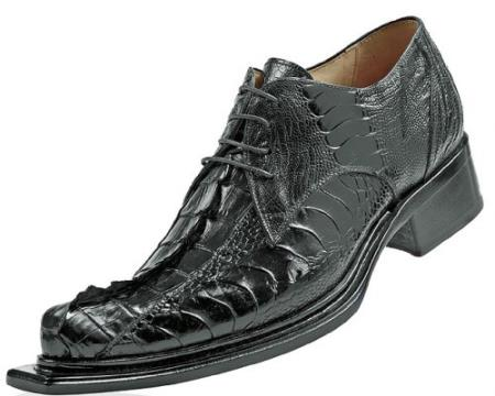 "SKU#CN720 Mauri ""Cactus"" Black Genuine Hornback Crocodile Tail/Ostrich Shoes"