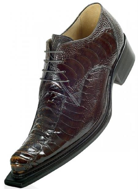 "SKU#HP848 Mauri ""Cactus"" Brown/Gold Genuine All-Over Ostrich Shoes $819"