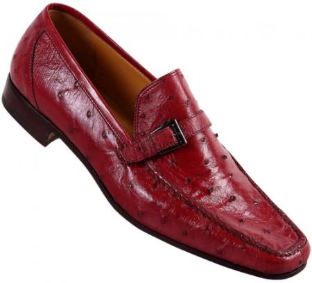 "SKU#BR64 Mauri ""Campari"" Red Genuine Ostrich / Kidskin Loafer Shoes $919"