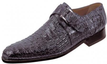 "SKU#EN749 Mauri ""Cool"" Charcoal Grey Genuine All-Over Hornback Crocodile Shoes $1469"