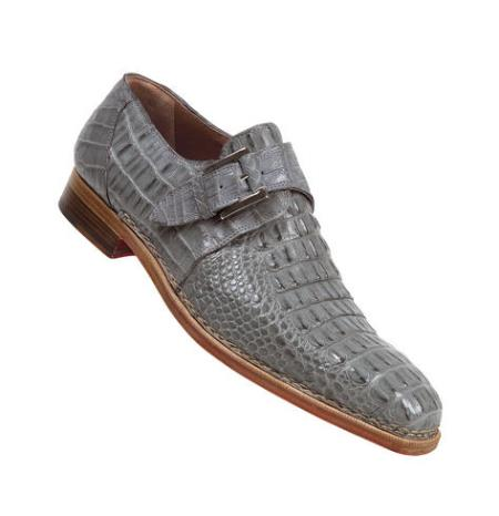 "SKU#FV621 Mauri ""Cool"" Light Grey Genuine All-Over Hornback Crocodile Shoes $1469"