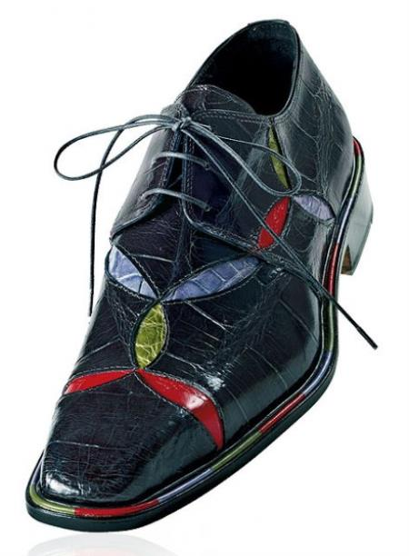 "SKU#E64 Mauri ""Ease"" Charcoal Grey w/ Red/Violet/Apple Green Accents Genuine Alligator Shoe $1219"