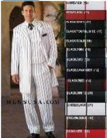 SKU# ZTV139 Stunning Gangster Style 3 Piece White Fashion Zoot Suit w/Bold Black Pinstripes