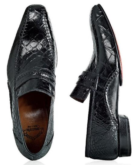 "SKU#EV739 Mauri ""Englishman"" Black Genuine Alligator/Calf Shoes $1369"