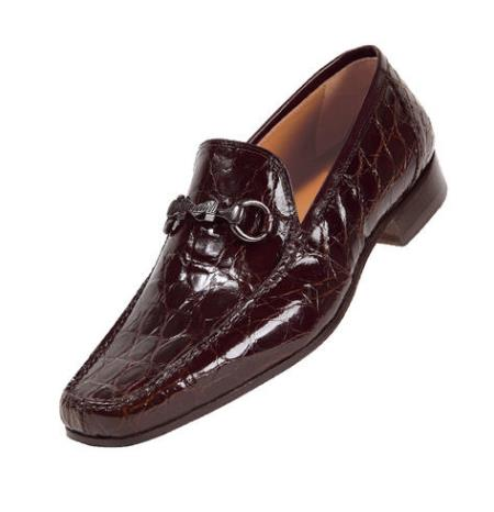 "SKU#ET773 Mauri ""Legendary"" Rust Genuine Crocodile Flanks/Calf Shoes $1569"
