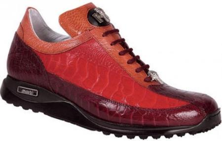 "SKU#K45 Mauri ""Legion"" Ruby Red/Red/Canyon Genuine All-Over Ostrich Sneakers $769"