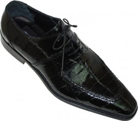 "SKU#BR639 Mauri ""Lirico"" Black Genuine All-Over Alligator Shoes $1169"