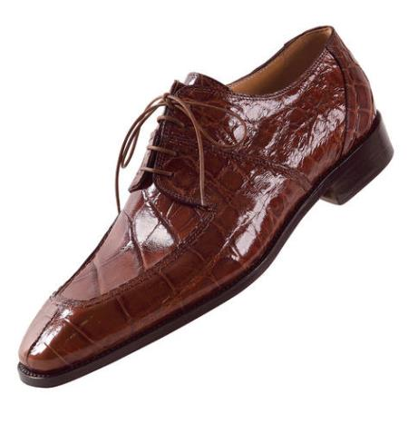 "SKU#CE639 Mauri ""Lirico"" Nutmeg Genuine All-Over Alligator Shoes $1169"