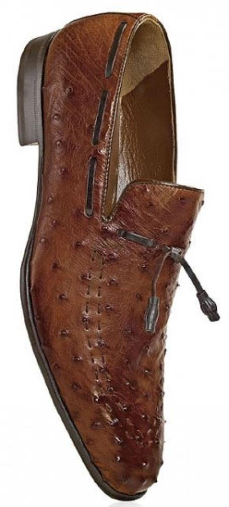 "SKU#BS673 Mauri ""Louvre"" Brandy All-Over Genuine Ostrich Hand-Painted Shoes $969"