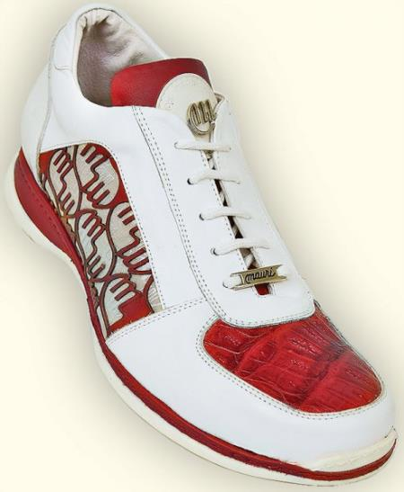"SKU#EC63 Mauri ""Mixtape"" White/Red/Champagne Genuine Baby Crocodile Sneakers $219"