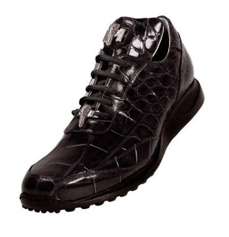 "SKU#DE452 Mauri ""Mogul"" Black Genuine All-Over Alligator Sneakers w/ Silver Alligator Head $1039"