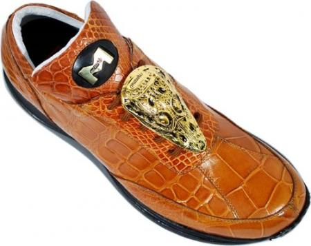 "SKU#GB79 Mauri ""Mogul"" Cognac Genuine All-Over Alligator Sneakers w/ Large Gold Alligator Head $1139"