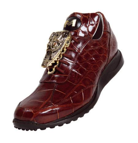 "SKU#YN7 Mauri ""Mogul"" Dark Rust Genuine Alligator Sneakers w/Big Gold Alligator Head On Front $1129"
