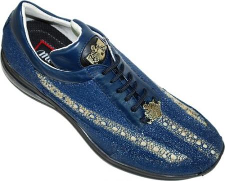 "SKU#GV6 Mauri ""Navigator"" Blue Genuine Stingray & Nappa Leather Sneakers w/Silver Mauri Emblem $969"
