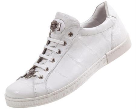 "SKU#A3 Mauri ""Overview"" White Genuine Alligator/Baby Crocodile Sneakers w/Silver Alligator Head $969"