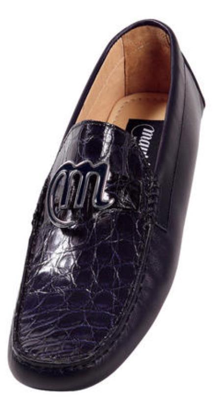 MensUSA Mauri Pavillion Genuine Crocodile Flanks Soft Calf Leather Shoes w Emblem On Front at Sears.com