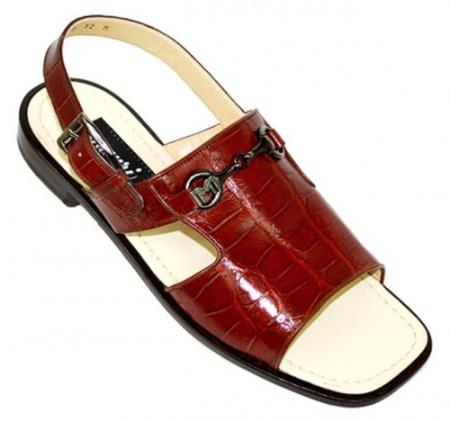 "SKU#DV645 Mauri ""Polished"" Gold Genuine All-Over Alligator Sandals $769"