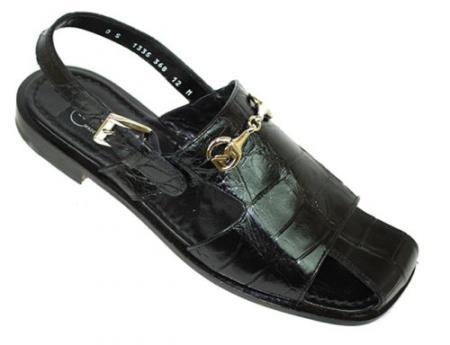 "SKU#EN711 Mauri ""Recognition"" Black Genuine All-Over Alligator Sandals $819"