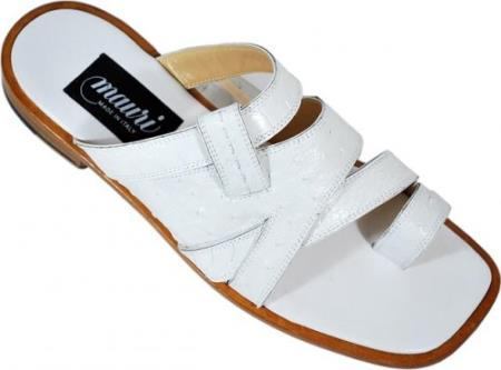 "SKU#ET675 Mauri ""Stylish"" White Genuine All-Over Ostrich Sandals $519"