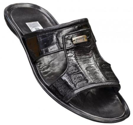 "SKU#EB45 Mauri ""Surfer"" Black Genuine Baby Crocodile/Ostrich Sandals $469"