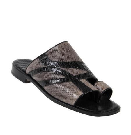 MensUSA Mauri Black Genuine Bufalino Perforated Waxy Marine Teju Lizard Sandals at Sears.com