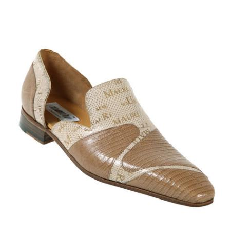 SKU#GN73 Mauri Taupe/Cream ~ Ivory ~ Off White Genuine Lizard/Mauri Laser Karung Snake Skin Half Shoes $869