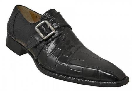 MensUSA Mauri Black Genuine All Over Alligator Skin Loafer Shoes With Monk Straps at Sears.com