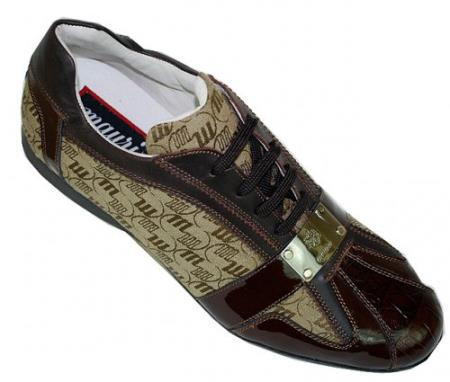 MensUSA Mauri Dark Brown Tan Alligator Patent Leather Sneakers w Silver Mauri Engraved Plate at Sears.com