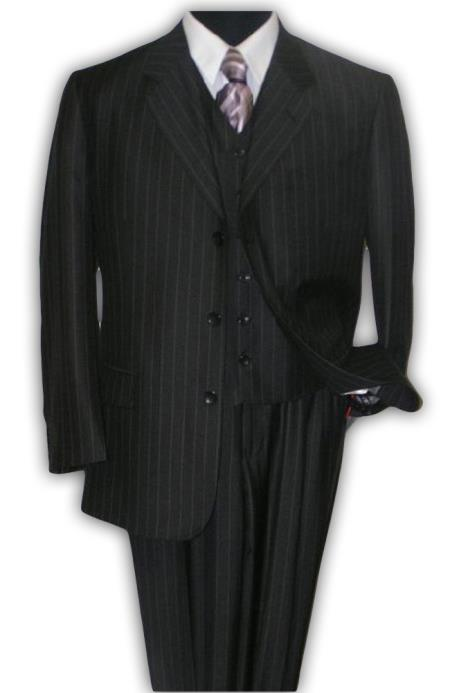 SKU# UHA930 Cheaper Version Quality Classic Black Stripe ~ Pinstripe 3 ~ Three Piece Suit 100% Rayon Available in 2 buttons only $159 (Wholesale Price available)
