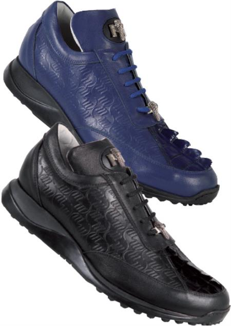 SKU#JK785 Mauri Genuine Hornback Crocodile Tail with Embossed Nappa Leather Sneakers $469