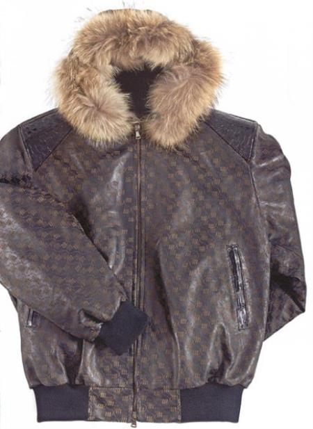 MensUSA Mauri Winter Nappa Leather V71 Baby Crocodile Black Jacket at Sears.com