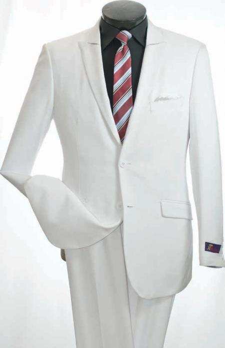 SKU#CR6389 Vittorio St. Angelo Mens 2 Piece Slim Suit - Narrow Peak Lapel $139