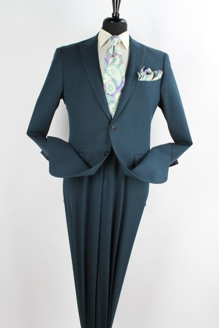 SKU#DE6578 Mens 2 Piece Wool Executive Suit - Peak Lapel Blue Olive $149