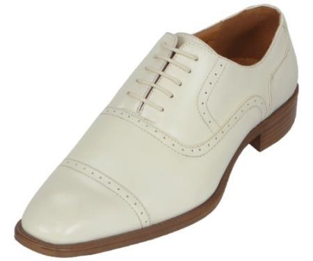 SKU#DR6748 Mens Ice Oxford Dress Shoe Available in Ivory, Cream & Off White Colors $125