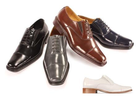 SKU#JR6739 Mens Genuine Leather Dress Shoes Black, Brown, Navy & Wine