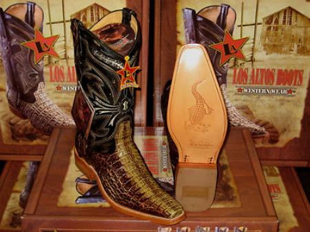 SKU#FE4573 Los Altos Square Rustic Green Genuine Crocodile ~ Alligator Western Cowboy Boot $359