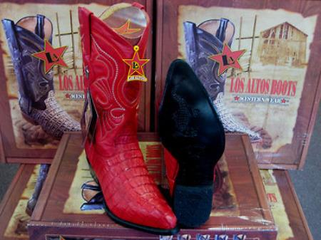 SKU#FR6789 Los Altos Red Genuine Crocodile ~ Alligator Tail Western Cowboy Boot $359